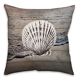 Distressed Seashell 16-Inch Square Throw Pillow in Blue/White
