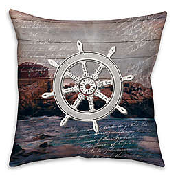 Distressed Wheel 16-Inch Square Throw Pillow in Blue/White