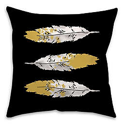 Feathers Square Throw Pillow in Black/Gold