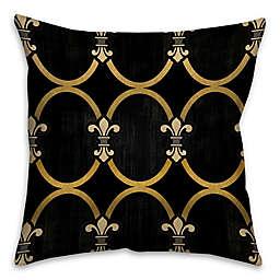 Fleur-De-Lis Square Throw Pillow in Black/Gold