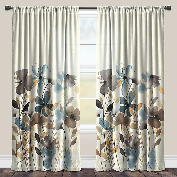 Laural Home 174 Greige Floral Rod Pocket Sheer Window Curtain