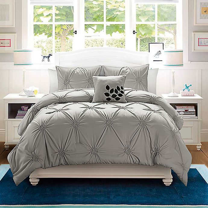Alternate image 1 for VCNY London 4-Piece King Comforter Set in Grey