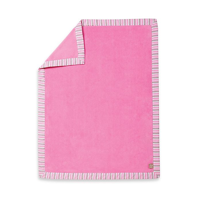Alternate image 1 for Trend Lab® Lily Stripe Coral Fleece Receiving Blanket in Pink