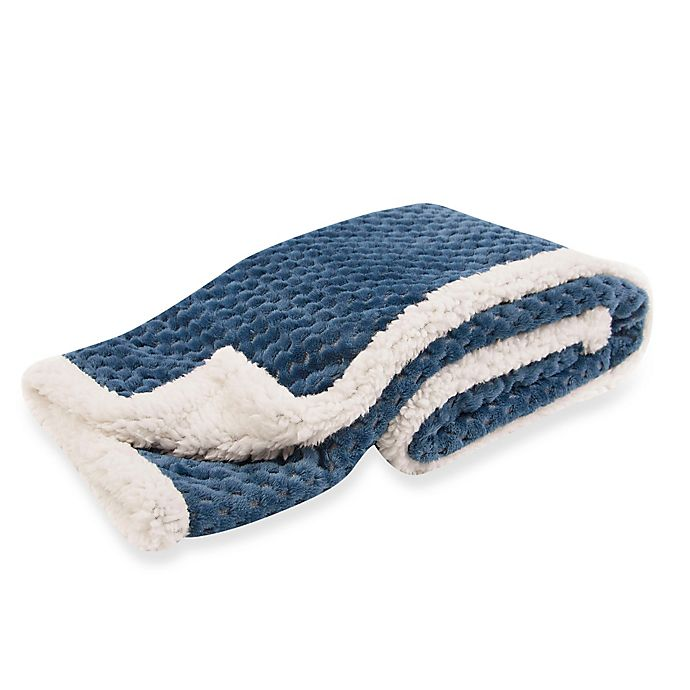Alternate image 1 for Tadpoles™ by Sleeping Partners Popcorn Plush Microfleece and Sherpa Blanket in Navy