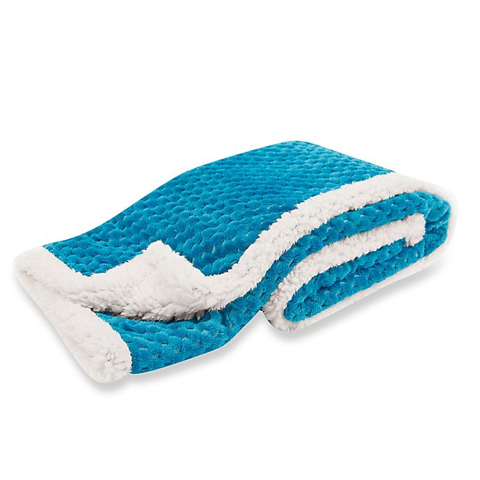 Alternate image 1 for Tadpoles™ by Sleeping Partners Popcorn Plush Microfleece and Sherpa Blanket in Blue