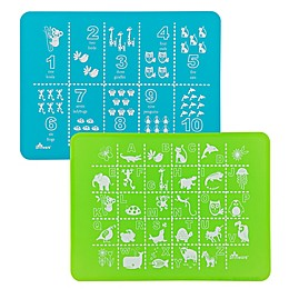 Brinware ABC & 123 Silicone Placemat Set in Blue/Green (Set of 2)