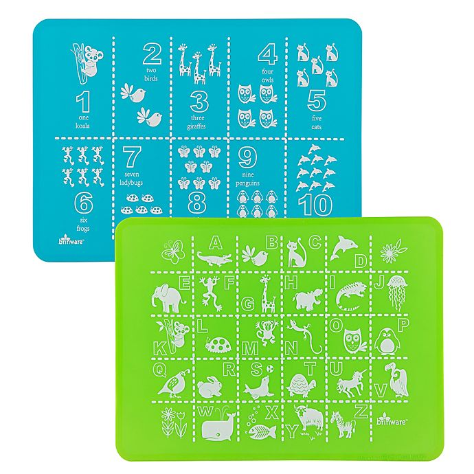 Alternate image 1 for Brinware ABC & 123 Silicone Placemat Set in Blue/Green (Set of 2)