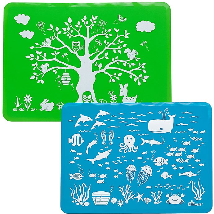 Alternate image 1 for Brinware Land & Sea Silicone Placemat Set in Blue/Green (Set of 2)