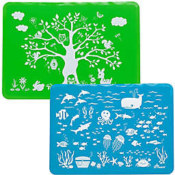 Brinware Land & Sea Silicone Placemat Set in Blue/Green (Set of 2)
