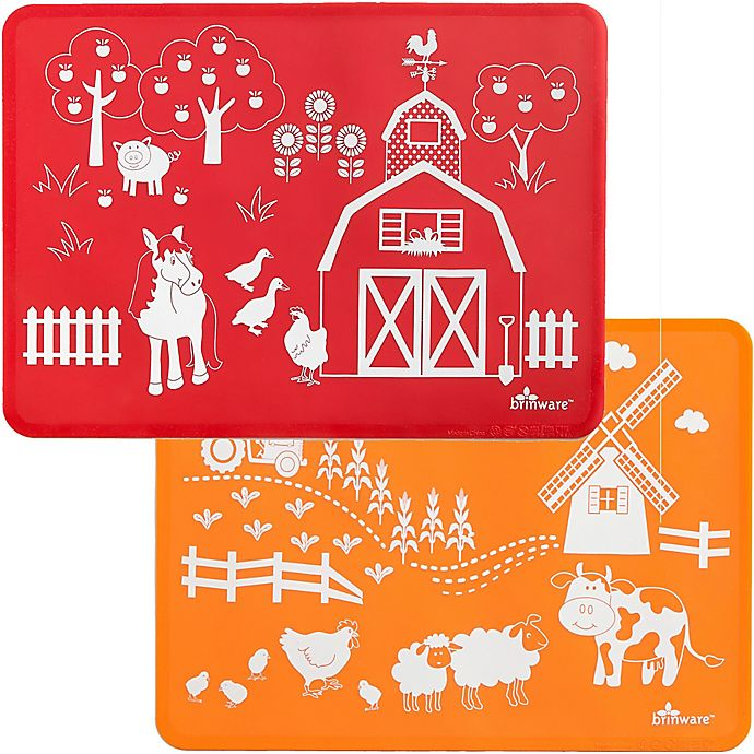 Alternate image 1 for Brinware Barnyard Friends Silicone Placemat Set in Orange/Red (Set of 2)
