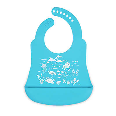 Brinware Under the Sea Silicone Bib Catcher in Blue