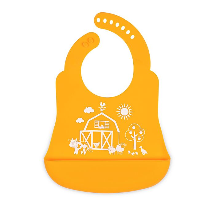 Alternate image 1 for Brinware Barnyard Friends Silicone Bib Catcher in Orange