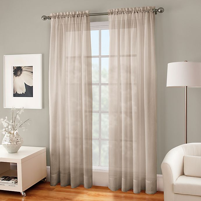 Alternate image 1 for Crushed Voile Sheer 132-Inch Rod Pocket Window Curtain Panel in Linen