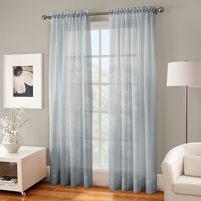 Alternate image 1 for Crushed Voile Sheer 108-Inch Rod Pocket Window Curtain Panel in Pearl Blue