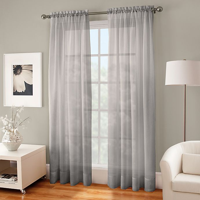 Alternate image 1 for Crushed Voile Sheer 63-Inch Rod Pocket Window Curtain Panel in Fog