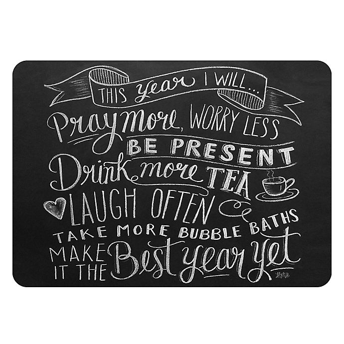 Alternate image 1 for Premium Comfort by Weather Guard™ 22 x 31-Inch New Year Kitchen Mat in Black/White