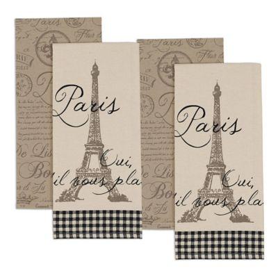 Paris Kitchen Towel Set Of 4 Bed Bath Amp Beyond