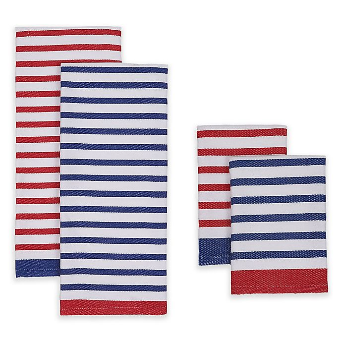 Alternate image 1 for Nautical Stripe Kitchen Towel and Dish Cloth (Set of 4)