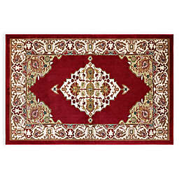 Home Dynamix Westwood Medallion 1-Foot 7-Inch x 2-Foot 7-Inch Washable Accent Rug in Red