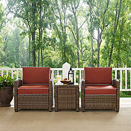 Crosley Bradenton 3-Piece Wicker Armchair Conversation Set