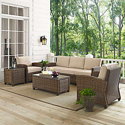 Crosley Bradenton 5-Piece Wicker Sofa Conversation Set in Sand