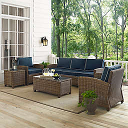 Crosley Bradenton 5-Piece Wicker Sofa Conversation Set in Navy