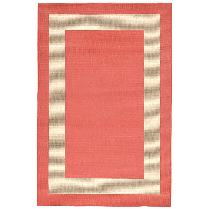 Alternate image 1 for Liora Manne Border 1-Foot 11-Inch x 7-Foot 6-Inch Indoor/Outdoor Runner in Coral