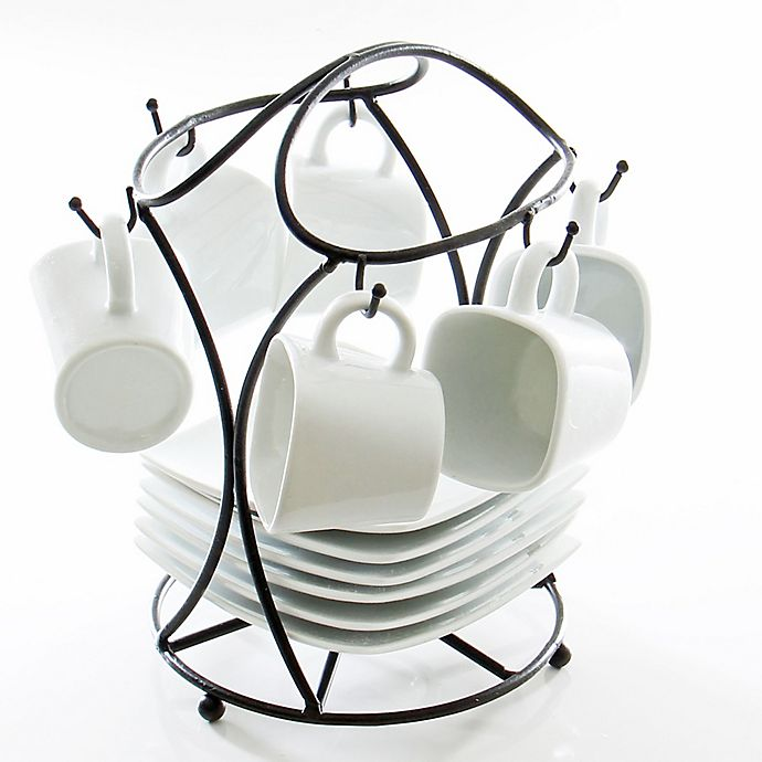 Alternate image 1 for B. Smith® 13-Piece Espresso Set in White with Black Metal Stand