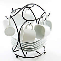 B. Smith® 13-Piece Espresso Set in White with Black Metal Stand