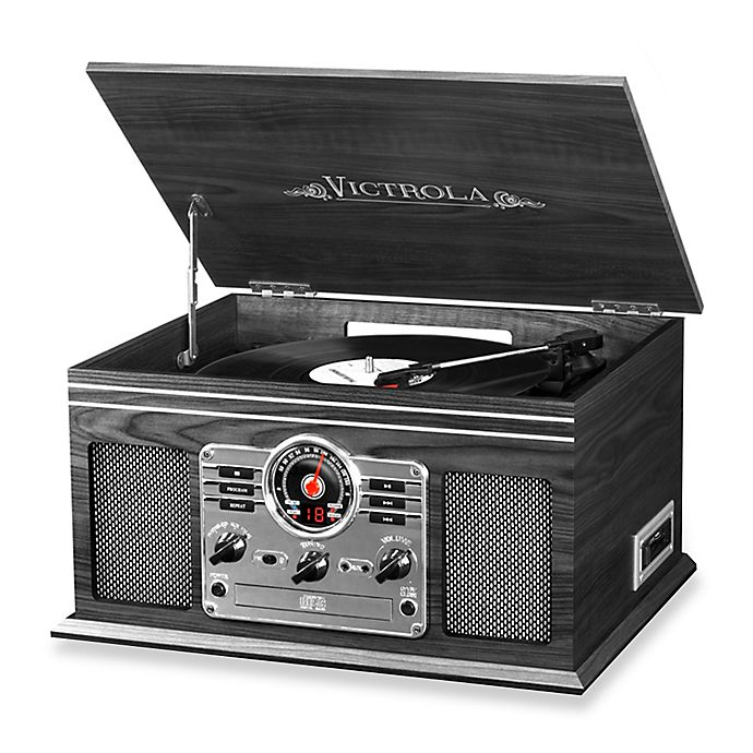 Alternate image 1 for Victrola™ Wooden 6-in-1 Nostalgic Record Player with Bluetooth and 3 Speed Turntable in Graphite