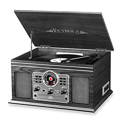 Victrola™ Wooden 6-in-1 Nostalgic Record Player with Bluetooth and 3 Speed Turntable in Graphite