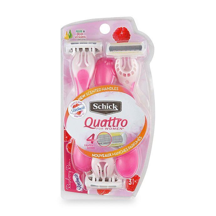 Alternate image 1 for Schick® Quattro For Women® 3-Pack Disposable Razor in Raspberry Rain