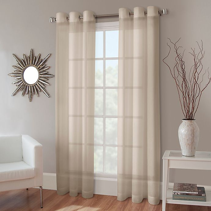 Alternate image 1 for Crushed Voile 84-Inch Grommet Top Sheer Window Curtain Panel in Linen