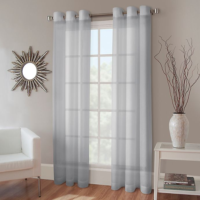 Alternate image 1 for Crushed Voile Grommet Top Sheer Window Curtain Panel