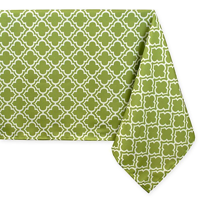 Alternate image 1 for Lattice Tablecloth in Green/White with Umbrella Hole