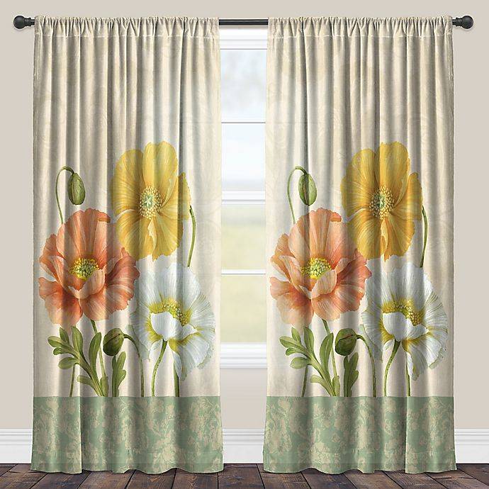 Alternate image 1 for Laural Home® Pastel Poppies Rod Pocket Sheer Window Curtain Panel