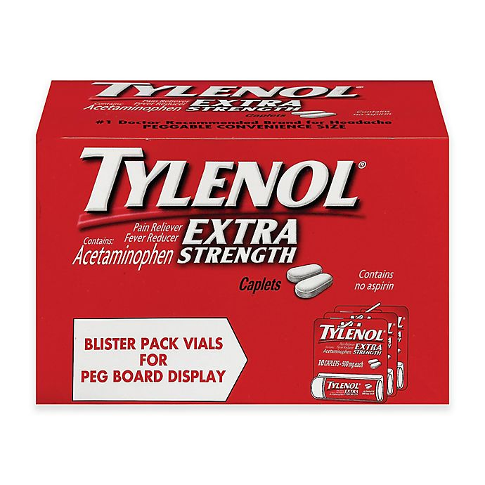 Alternate image 1 for Tylenol® Extra Strength 10-Count 500 mg Pain Reliever Caplets