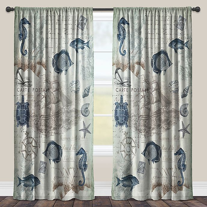 Alternate image 1 for Laural Home® Seaside Postcard 84-Inch Rod Pocket Sheer Window Curtain Panel in Blue