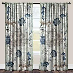 Laural Home® Seaside Postcard Rod Pocket Sheer Window Curtain Panel (Single)