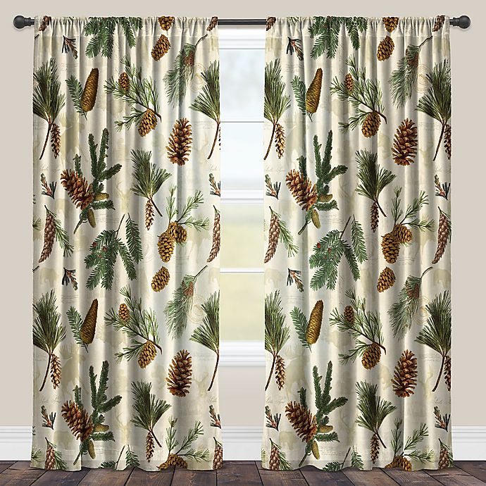 Alternate image 1 for Laural Home® Pinecone Rod Pocket Sheer Window Curtain Panel