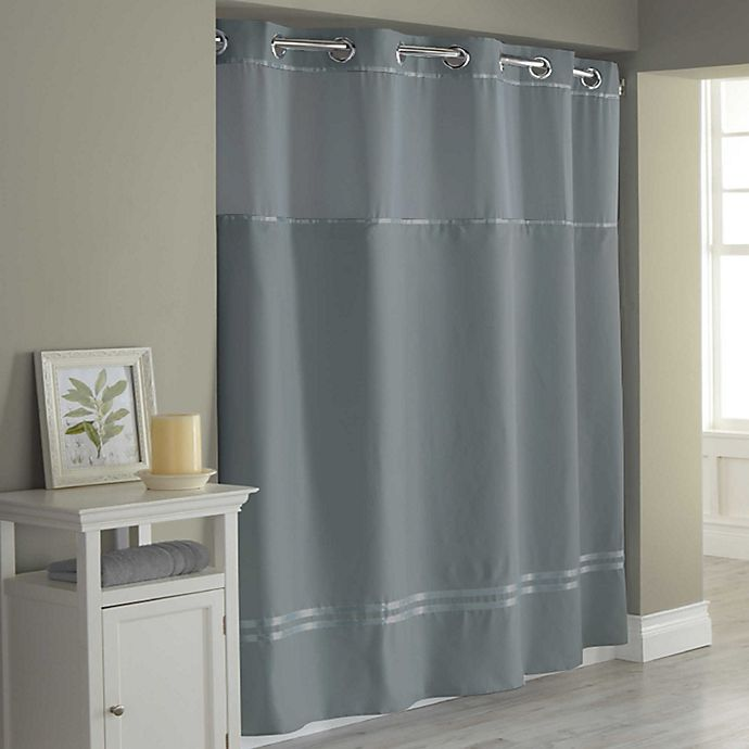 Alternate image 1 for Hookless® Escape Stall Fabric Shower Curtain Liner in Graphite
