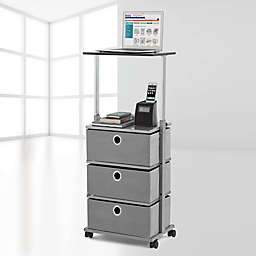 Studio 3B™ 3-Drawer Adjustable-Top Storage Cart in Grey