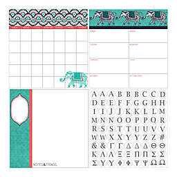 WallPops!® Dry-Erase 3-Piece Indra Monogram Calendar/Planner/Notes Board Set in Teal/Coral