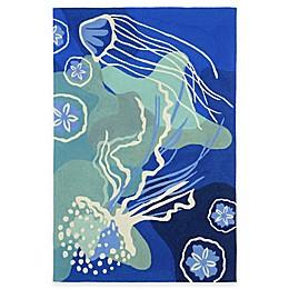 Trans-Ocean Capri Jelly Fish Ocean Indoor/Outdoor Rug in Blue
