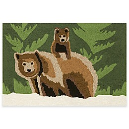 Trans-Ocean Front Porch Bear Family Forest Indoor/Outdoor Accent Rug