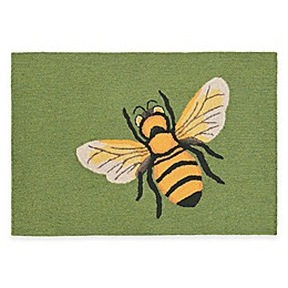Trans-Ocean Front Porch Bee Green Indoor/Outdoor Accent Rug