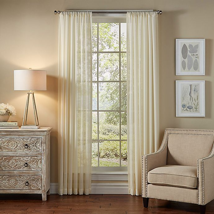 Alternate image 1 for SolarShield® Borinda 63-Inch Rod Pocket UV Filtering Sheer Window Curtain Panel in Ivory