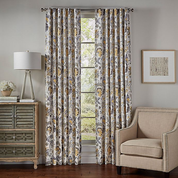 Alternate image 1 for SolarShield® Lowell 63-Inch Rod Pocket/Back Tab Room-Darkening Window Curtain Panel in Yellow