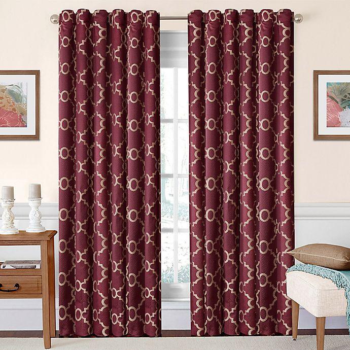 Alternate image 1 for SolarShield® Oasis 63-Inch Rod Pocket/Back Tab Room-Darkening Window Curtain Panel in Burgundy