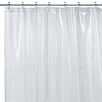 Linea White Vinyl Shower Curtain